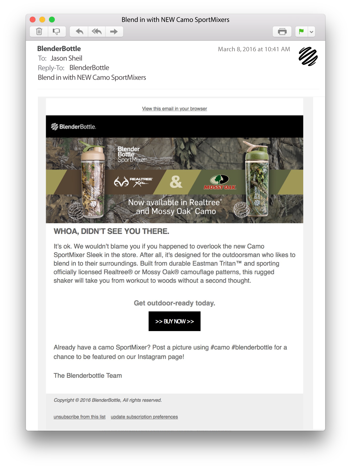 Email Copywriting for BlenderBottle's Camo SportMixers